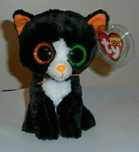 Ty Beanie Boos Frights Halloween Cat 6 Inch Orange Black Green Plush 2015 MINT