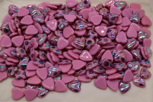 10 Iridescent Heart Shape Pink Cabochons 10 x 9 mm Vintage