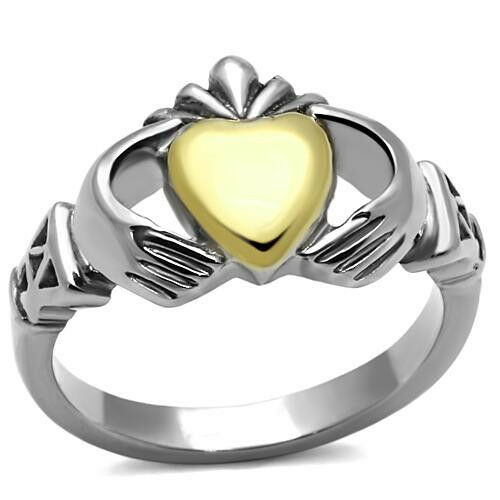 Irish Claddagh Ring Gold IP Heart 316 Stainless Steel Celtic Stylized Cuff 5 -10