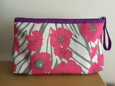 Clinique Pretty Pink Floral Cosmetic Make up Fashion Purse Bag