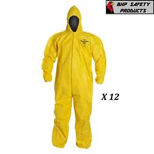 Dupont Tychem Tyvek Qc127s Yellow Coverall Chemical Hazmat Suit Case Of 12