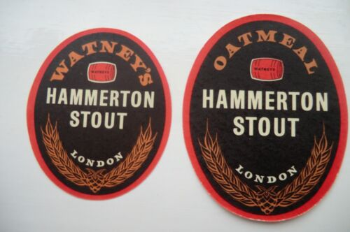 PAIR OF MINT WATNEY/'S LONDON HAMMERTON STOUT BREWERY BOTTLE LABELS