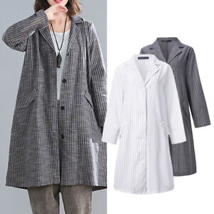 Women-Cotton-Linen-Stripe-Trench-Coat-Long-Blazer-Cardigan-Jacket-Plus-Size-8-24