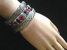Set 3 Bracelets Hippie Boho Tribal Festival Silver Multi-Coloured Beads