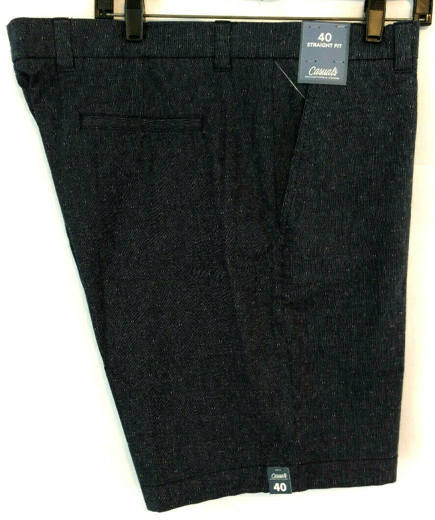 Roundtree Yorke Sz 40 Mens Shorts Flat Front Navy bluee Straight Fit 9 Inseam