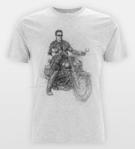 TERMINATE Arnold Sketch T-shirt Retro Film Drawing Arnie Tee Motorcycle Top