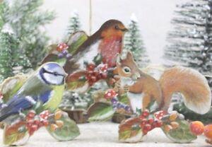 Gisela-Graham-Natale-in-legno-CINCIARELLA-Robin-Scoiattolo-Su-Ramo-Decorazione