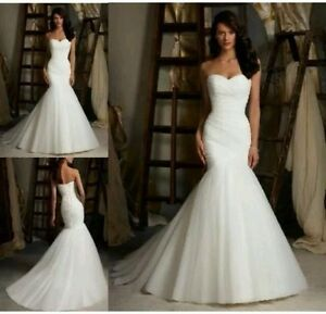 New White/Ivory organza Mermaid Wedding Dress Bridal Gown size 6--16 ...