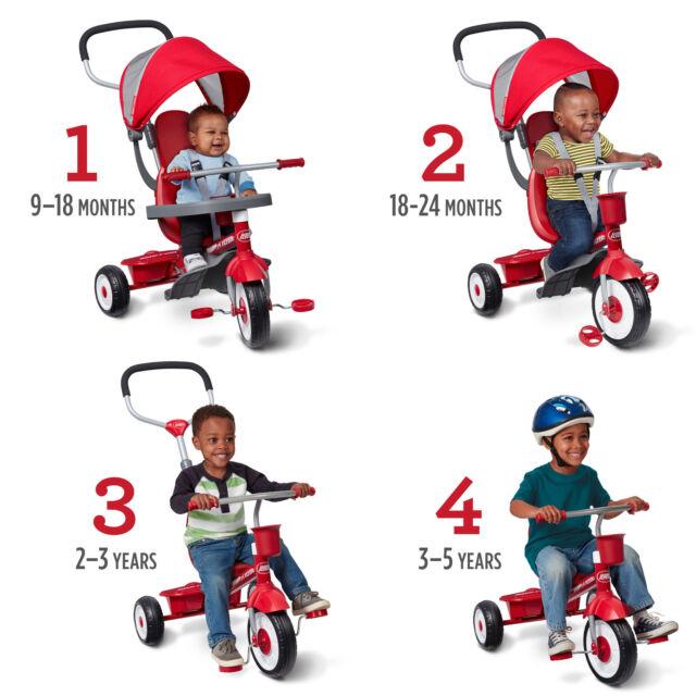 Radio Flyer Tricycle 4-in-1 Kids Trike Toddler Infant Stroller Ride Adjustable