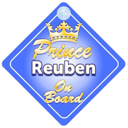 Crown Prince Reuben On Board Personalised Baby Boy Car Sign