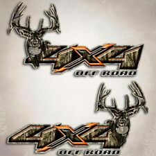 4x4 Orange Deer Truck Decal - Camo X Hunting Camouflage Sticker for Silverado