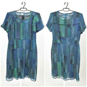 Womens-Brora-100-Silk-Tunic-Dress-Floral-Short-Sleeve-Light-Size-14UK