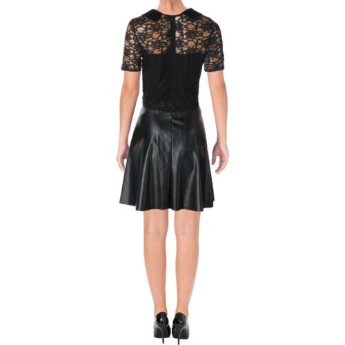 Aqua Womens Faux Leather Lace Short Sleeves Party Dress BHFO 1880