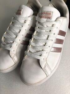 Adidas para mujeres Tenis de Flotador Blanca Rosa Cloudfoam ...