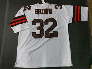sneakers for cheap 3cdc9 a7ccc Details about Jim Brown Mitchell & Ness Throwback Jersey Cleveland Browns  Size 54 2XL