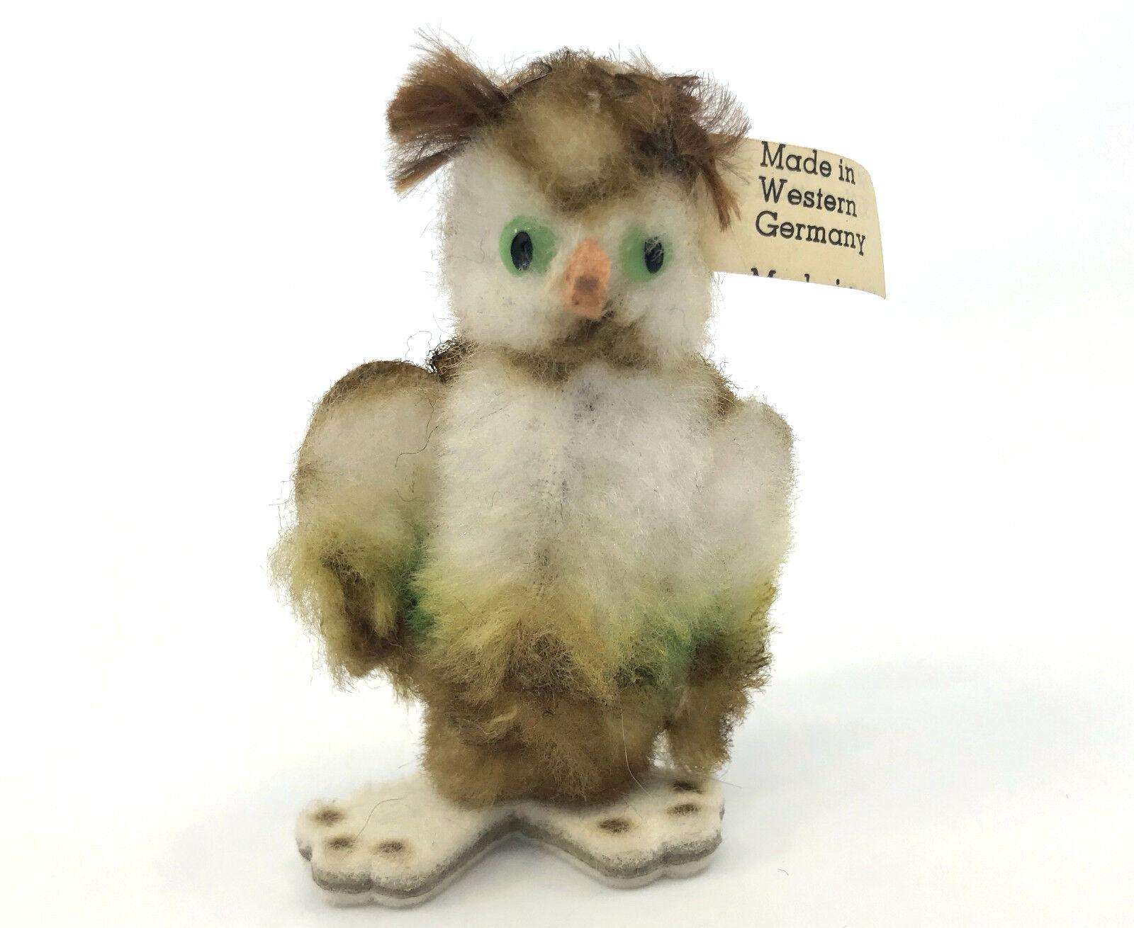 Schuco Noahs Ark Owl Seam Label Mohair Wool Plush 6cm 2.5in 1960 Vintage