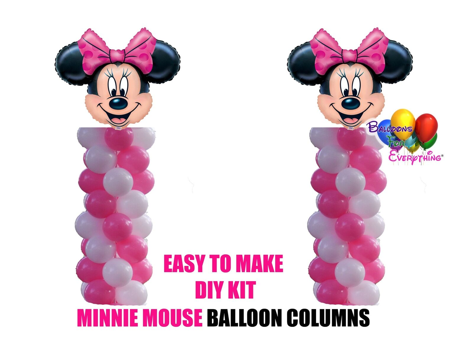 Rosa Minnie Mouse Mouse Mouse Birthday Balloon Columns, Cake Table, Gift Table, DIY KIT Part 699c2b