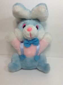 """Vintage Our Own Import Pastel Pink Blue Bunny Rabbit 8"""" Plush Stuffed Animal"""