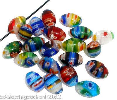 50 Mehrfarbig Millefiori Oval Glasperlen zum Fädeln 13x8mm