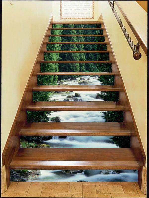 3d ruisseaux, forêts 36 Stair Risers Décoration Papier Peint Vinyle Autocollant Papier Peint De