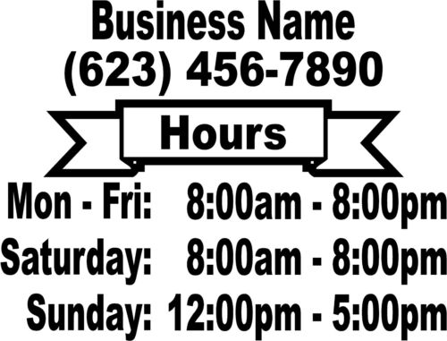 """Business STORE HOURS Vinyl Window Decal CUSTOM 16/"""" X 22/"""" Customized lettering"""