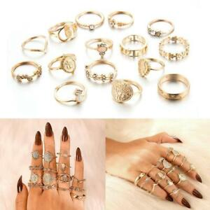 15-Teile-satz-Gold-Fingerring-Set-Vintage-Punk-Boho-Knuckle-Ringe-Schmuc-Heiss
