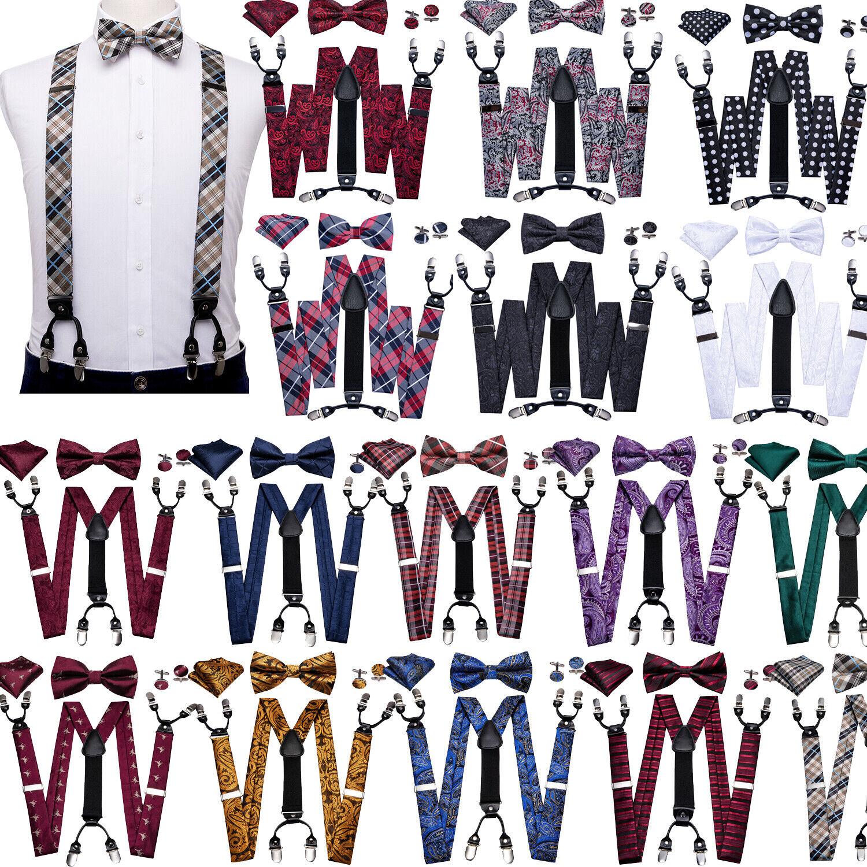 16 style Mens Suspenders Bow Tie Hanky Set Heavy Duty Braces Clips on Adjustable