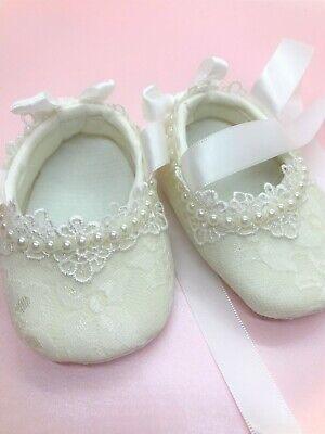 Bautizo del bebé niñas Marfil Encaje Perla Boda Zapatos Cochecito de Niño Zapatos 0 12 mths