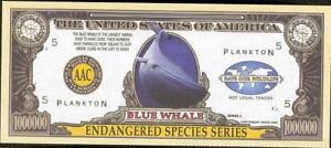 BLUE WHALE 🐳 One Million Note - Fantasy Money 🐋 Endangered Species Series 🐳