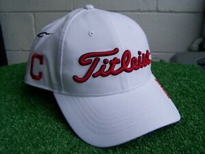 744ee395548 Image is loading Titleist-Cleveland-Indians-Adjustable-White-Performance-MLB -Golf-
