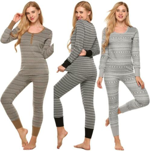Women Two Piece Thermal Underwear Pajamas Set Long Sleeve Striped Top GDY7