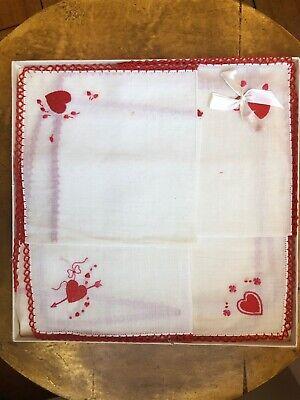 Valentine Gift Swiss Hankie Hearts Handkerchief Bridal Cupids Sweethearts
