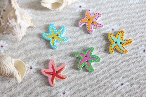 lot 10 bouton étoile de mer 20 mm bois couture scrapbooking art créatif mercerie