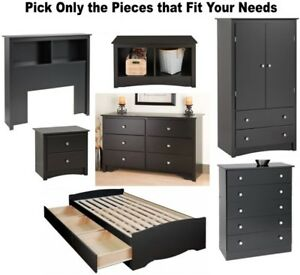 Details about Black Bedroom Furniture Dresser Nightstand Chest Dressers 2 5  6 Bed Set Twin NEW