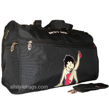 "Betty Boop 19"" CANVAS black Duffel travel overnight L shoulder bag red sport"