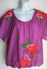 Blue tassel sundance summer boho shirt top embroidery size Small