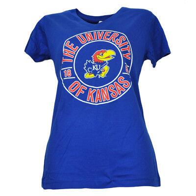 Fanartikel Ncaa Kansas Jayhawks Damen Est 1865 V-ausschnitt T-shirt Königsblau Baumwolle Vertrieb Von QualitäTssicherung