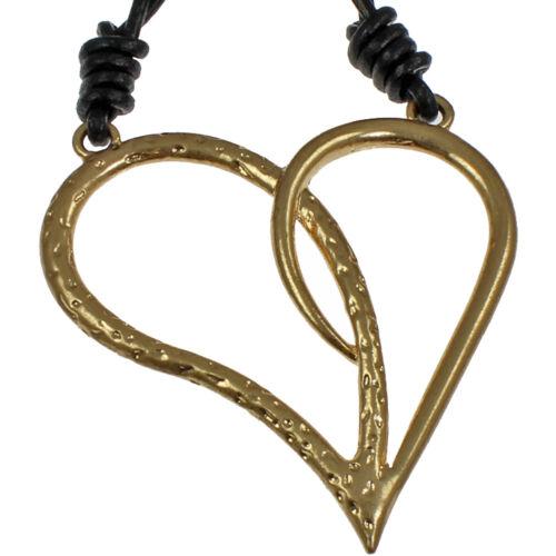 Color de oro bruñido enormes peculiar Martillado Corazón Colgante Collar De Gran Tamaño