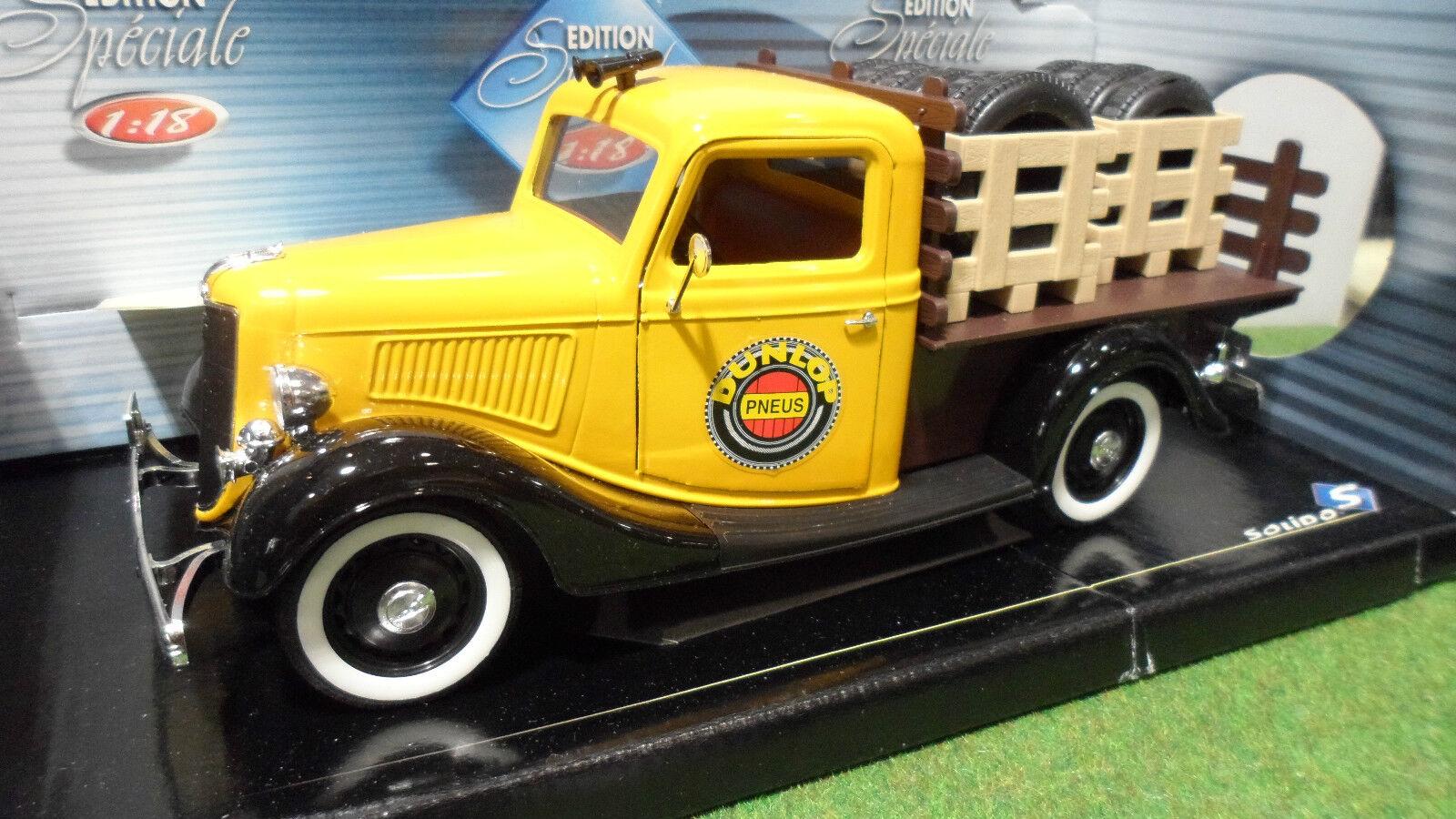 FORD PLATEAU PNEU DUNLOP 1936 Gelb 1 18 SOLIDO 8414 voiture miniature