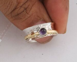 Amethyst-Solid-925-Sterling-Silver-Spinner-Meditation-Statement-Ring-Size-M408