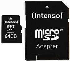 Intenso 64GB microSDXC Class 10 Karte inkl SD SDHC Card Adapter