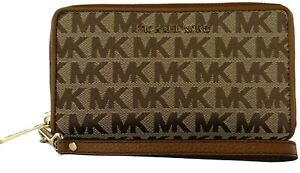 Michael-Kors-Purse-Wallet-Wristlet-Phone-Holder-Beige-Brown-Monogram-Canvas
