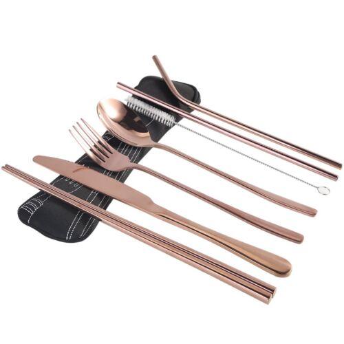 7Pcs//Set La coutellerie en acier inoxydable or rose vaisselle Couteau Fourchette Cuillère paille Kit