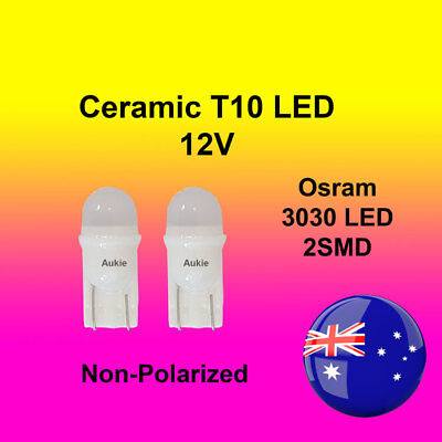 2 x T10 12V Ceramic LED Interior Car Auto Osram3030 2SMD Bulb White Globe Lights