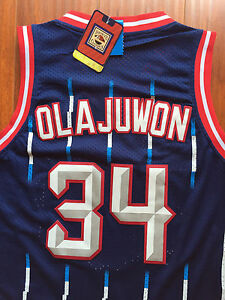 Image is loading NBA-Houston-Rockets-Hakeem-Olajuwon-Classic-Swingman-Sewn- bccbb377b