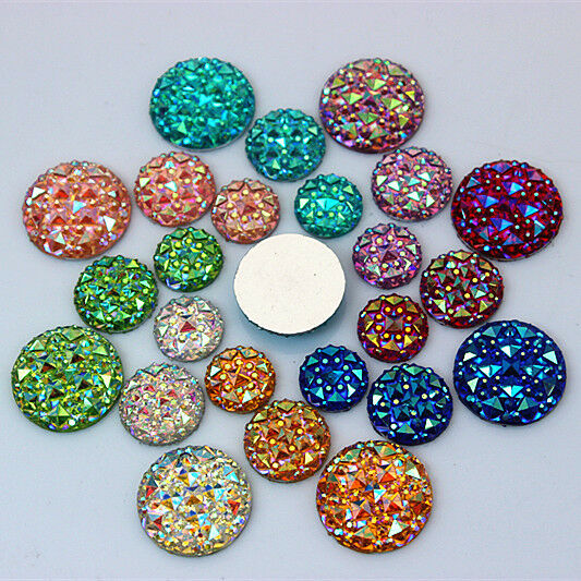 100pcs 10/1216mm AB Round Resin Rhinestone Crystal Flat Back Beads ZZ62