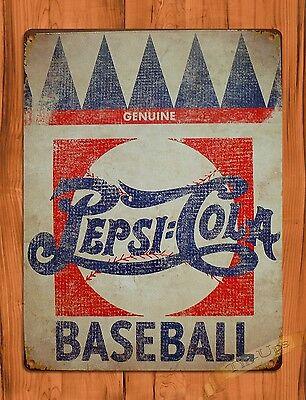 "TIN SIGN /""Pepsi Cola Baseball/"" Vintage Soda Ad Garage Alcohol"