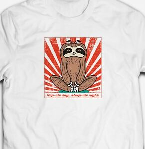 fe0c99802 FUNNY NAP ALL DAY SLEEP ALL NIGHT CUTE SLOTH ANIMAL MENS FIT T-SHIRT ...