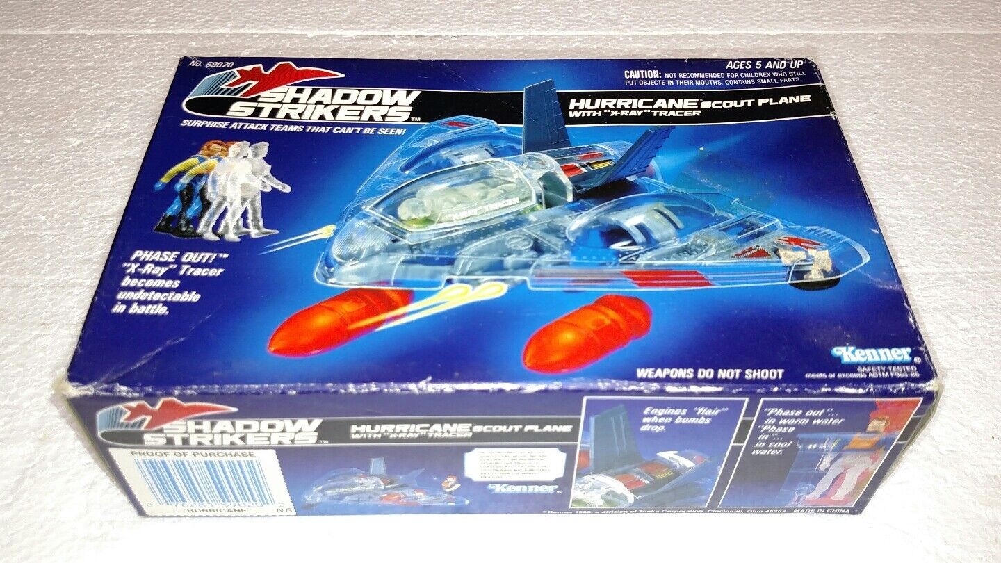 1990 KENNER SHADOW STRIKERS HURRICANE SCOUT PLANE WITH X-RAY TRACER