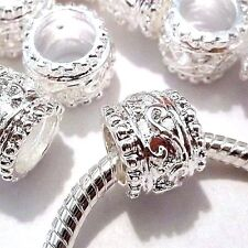 Lot of 5 EUROPEAN CHARM BEADS Silver Plated Metal Z28 Ships from USA